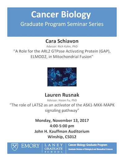 Cancer Biology Graduate Program Seminar Flyer