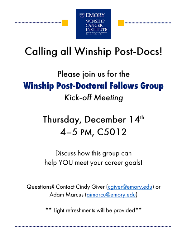 Flyer - Winship Post-Doc Fellows Group Meeting
