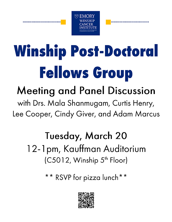 Flyer for Winship Post-Doctoral Felows Group Meeting