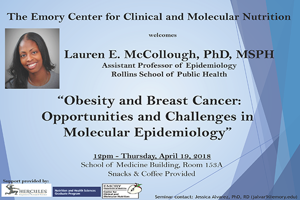 """Lauren McCullough Flyer - """"Obesity and Breast Cancer"""""""