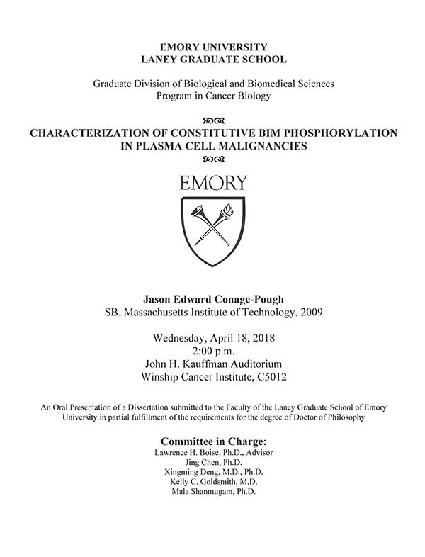 Flyer - Conage-Pough Dissertation Defense